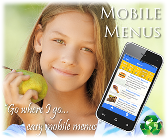 Girl with pear, cell phone with mobile menu